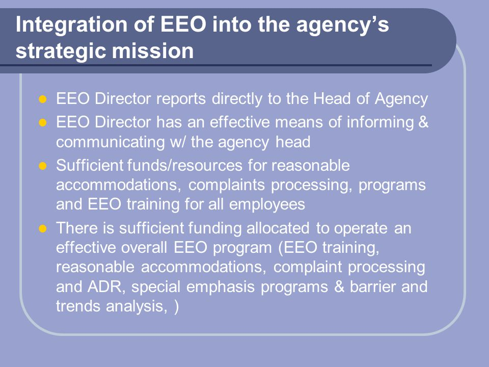 Integration of EEO into the agency's strategic mission