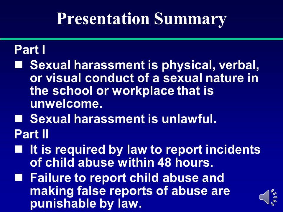 Presentation Summary Part I