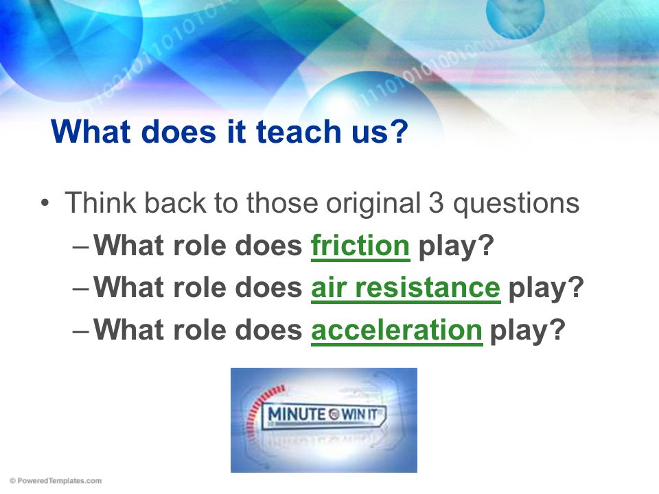 What does it teach us Think back to those original 3 questions