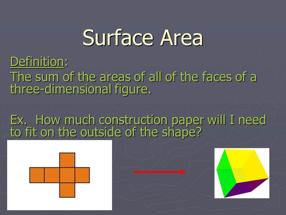 Surface Area Definition: