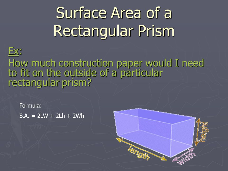 how to find the surface area of a cube prism