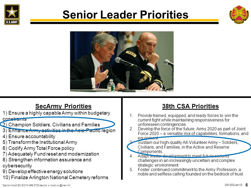 Senior Leader Priorities