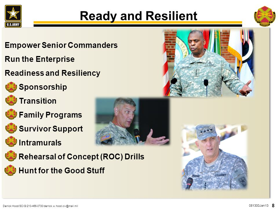 Ready and Resilient Empower Senior Commanders Run the Enterprise