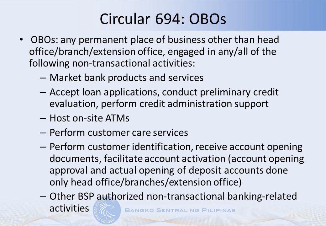 Circular 694: OBOs