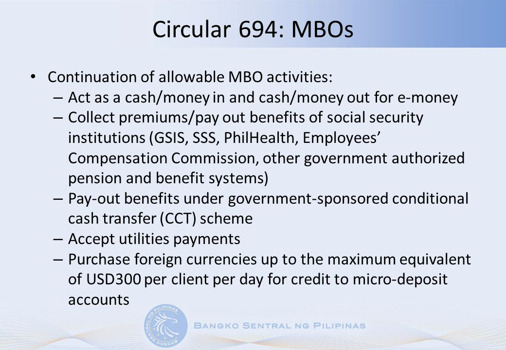 Circular 694: MBOs Continuation of allowable MBO activities: