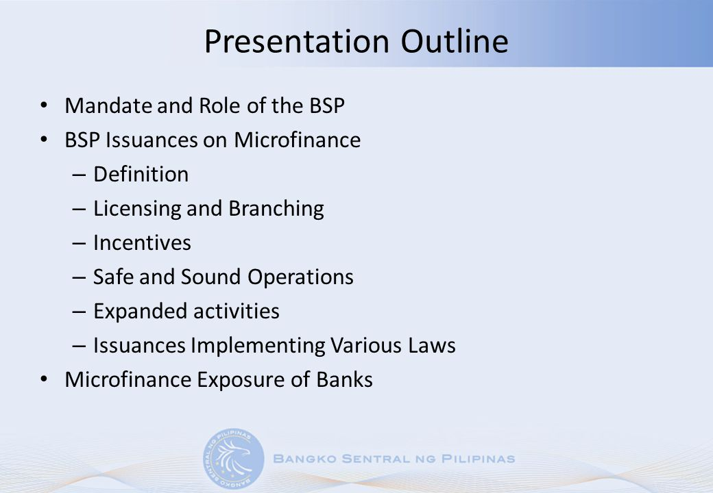 Presentation Outline Mandate and Role of the BSP