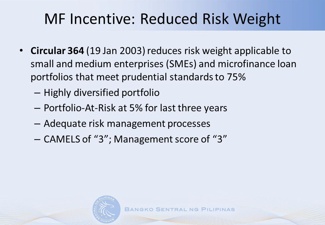 MF Incentive: Reduced Risk Weight