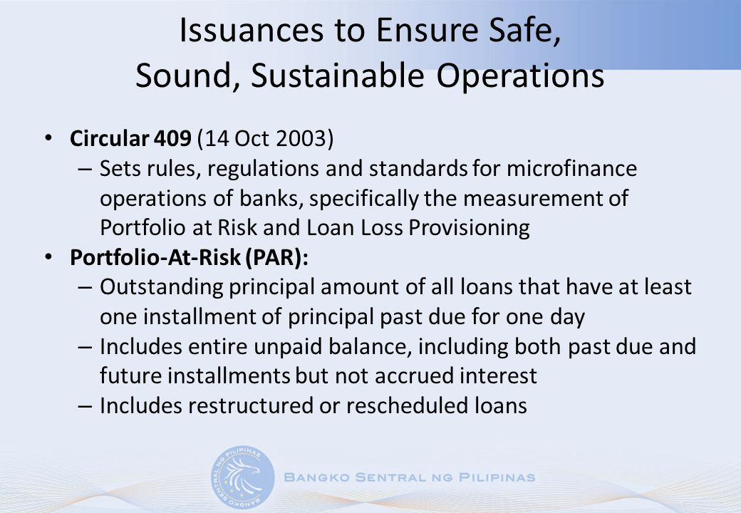 Issuances to Ensure Safe, Sound, Sustainable Operations