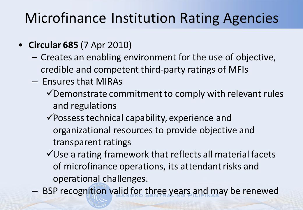 Microfinance Institution Rating Agencies