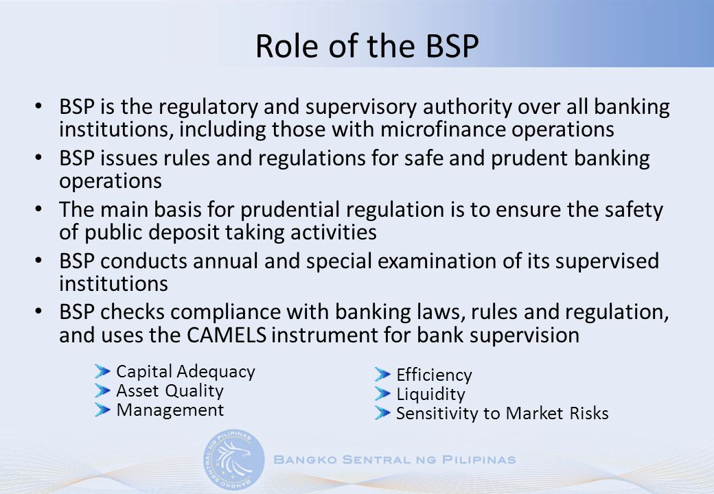 Role of the BSP BSP is the regulatory and supervisory authority over all banking institutions, including those with microfinance operations.