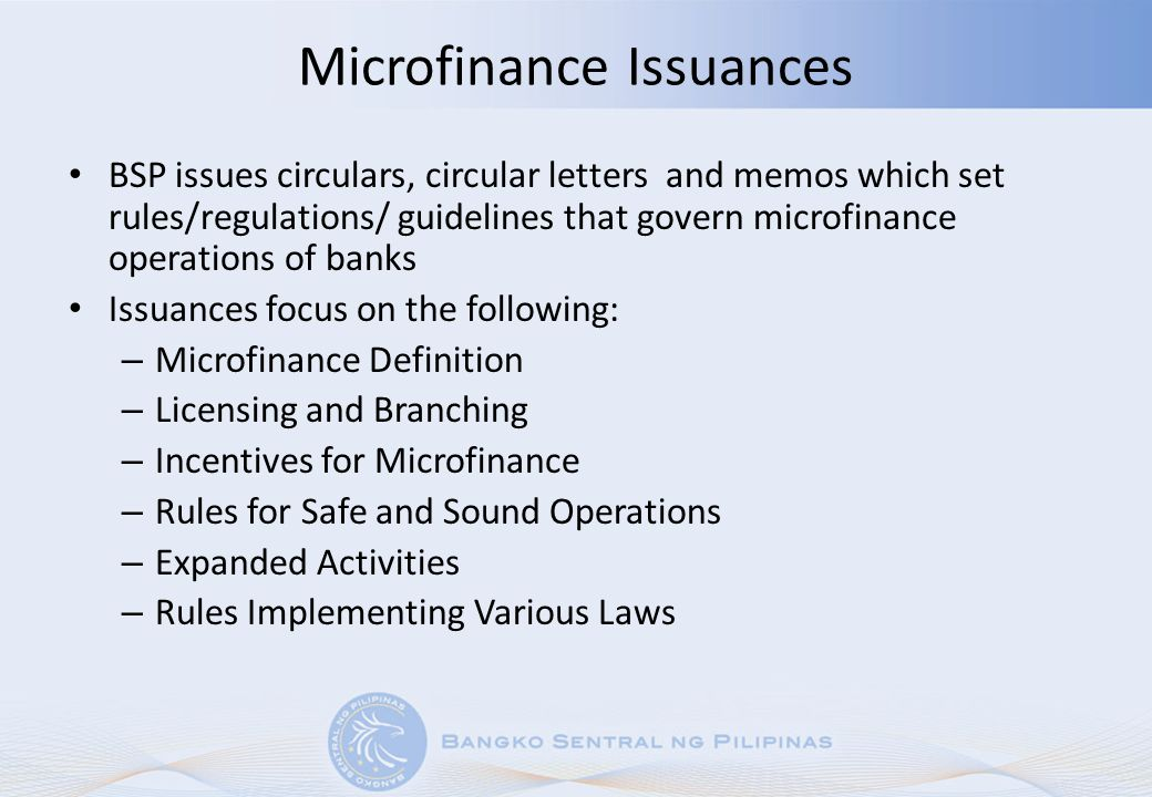 Microfinance Issuances