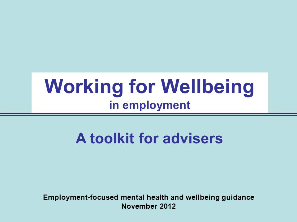 Employment-focused mental health and wellbeing guidance