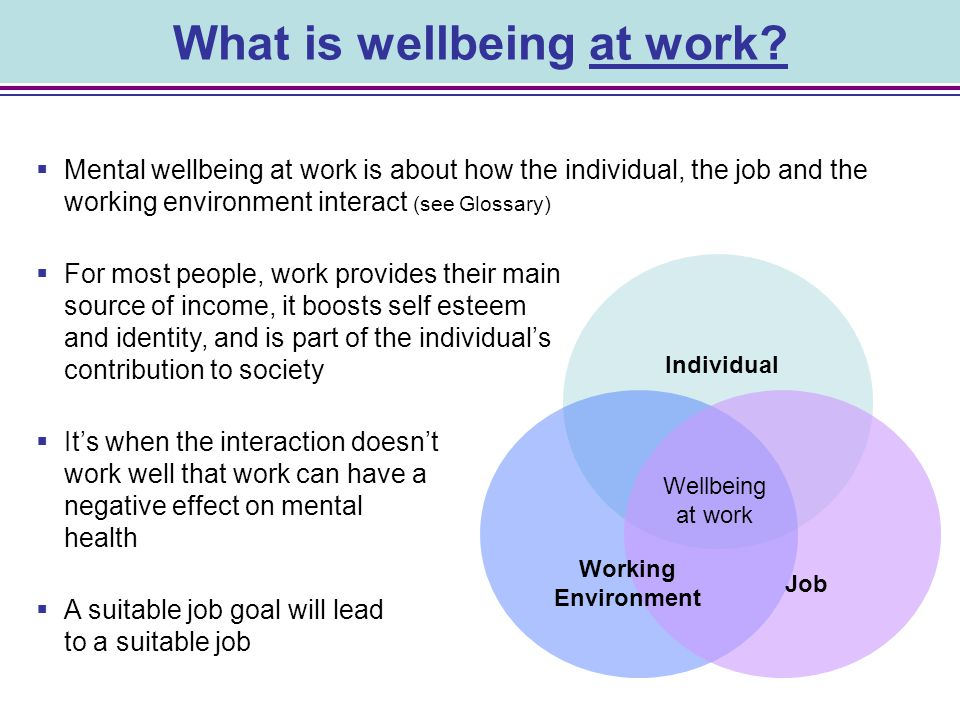 What is wellbeing at work