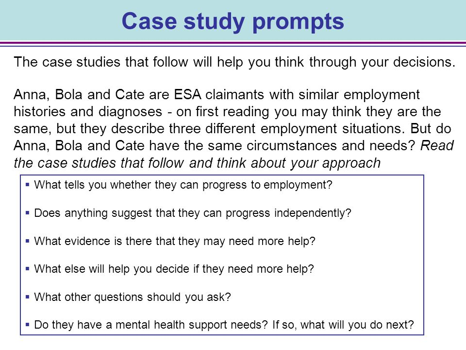 Case study prompts The case studies that follow will help you think through your decisions.