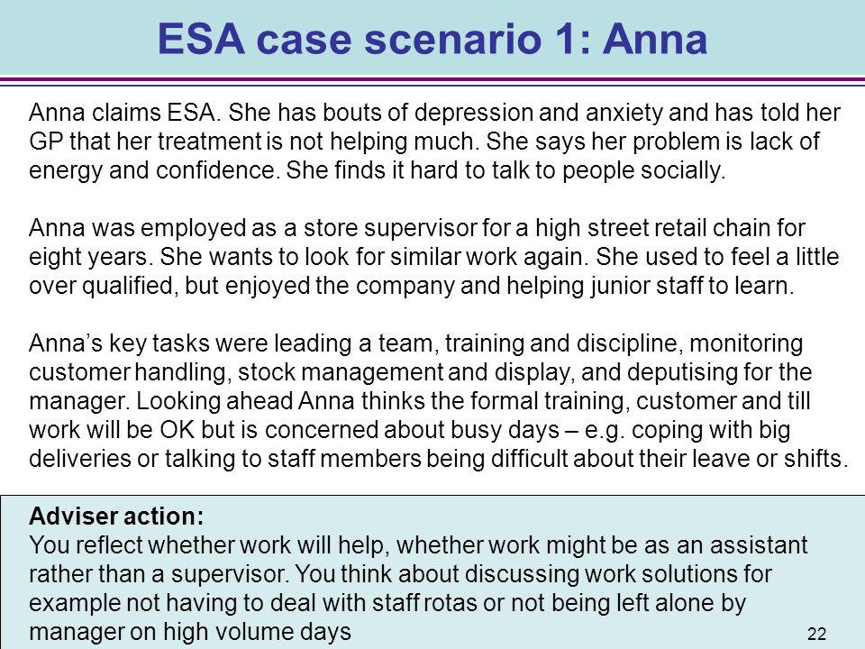 ESA case scenario 1: Anna