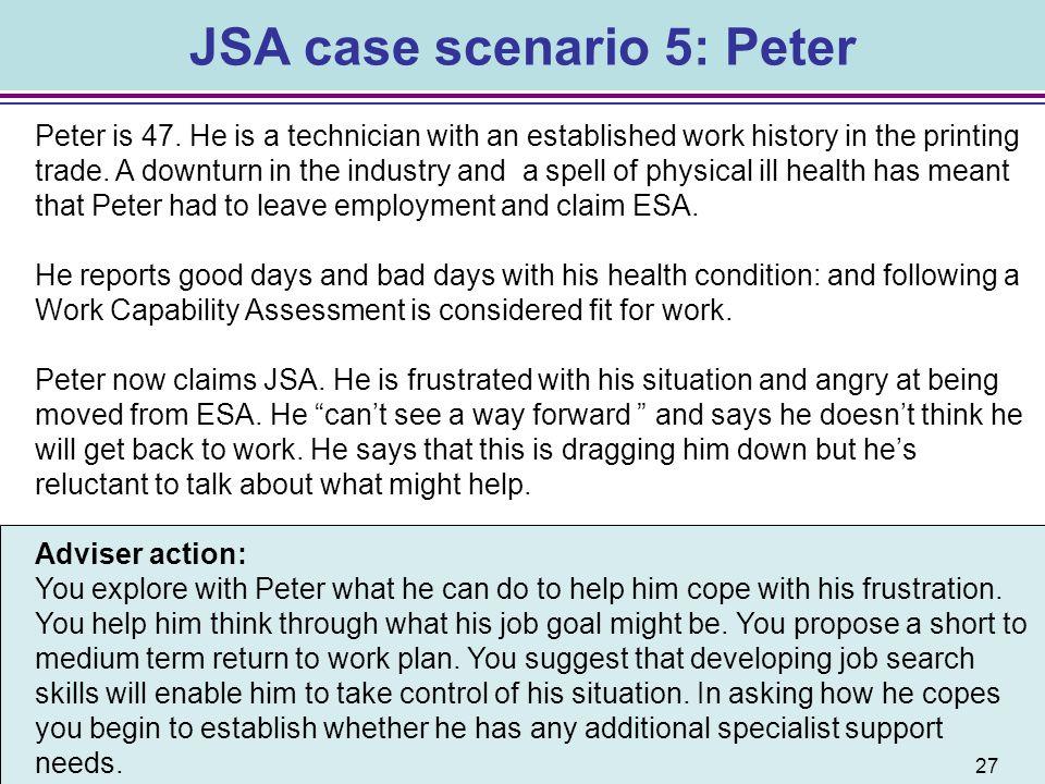 JSA case scenario 5: Peter