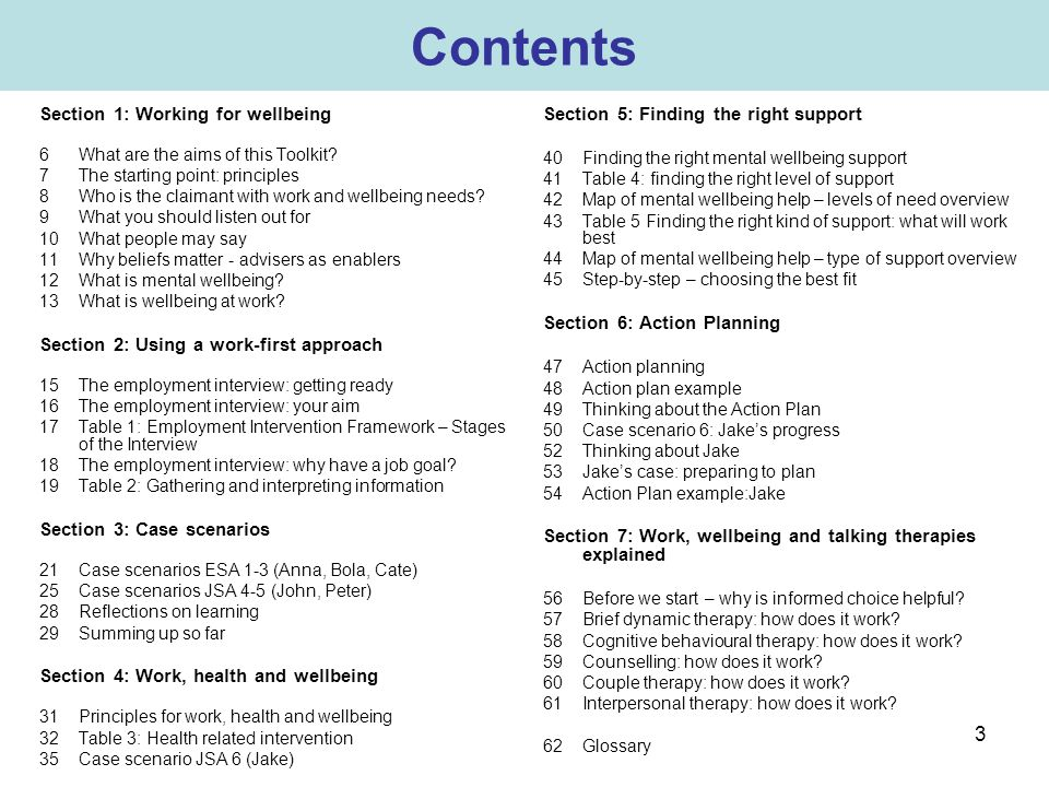 Contents Section 1: Working for wellbeing