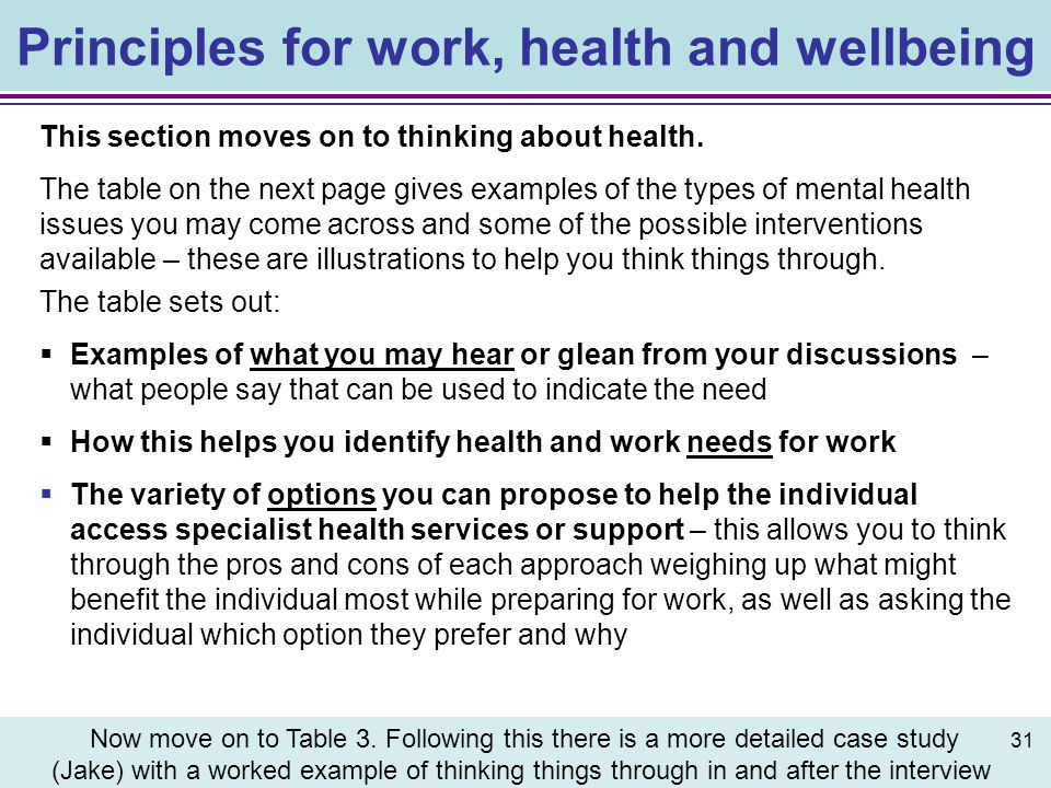 Principles for work, health and wellbeing