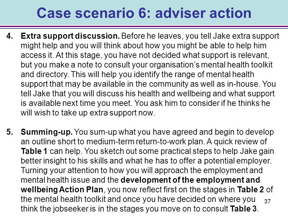 Case scenario 6: adviser action