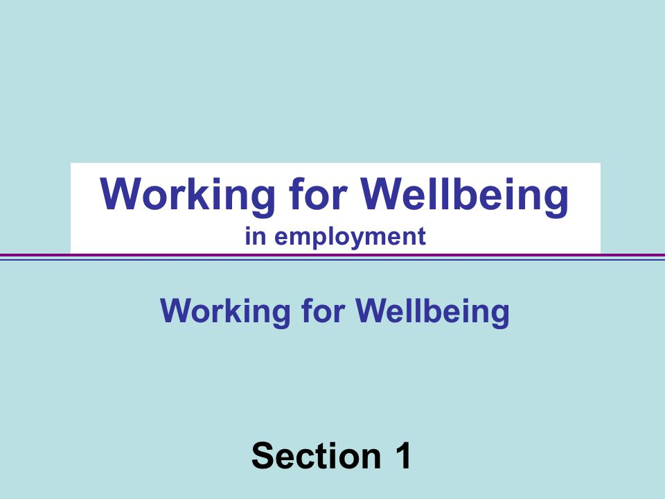Section 1 Working for Wellbeing in employment Working for Wellbeing