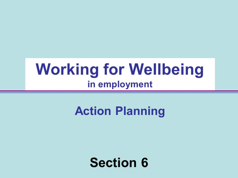 Section 6 Working for Wellbeing in employment Action Planning