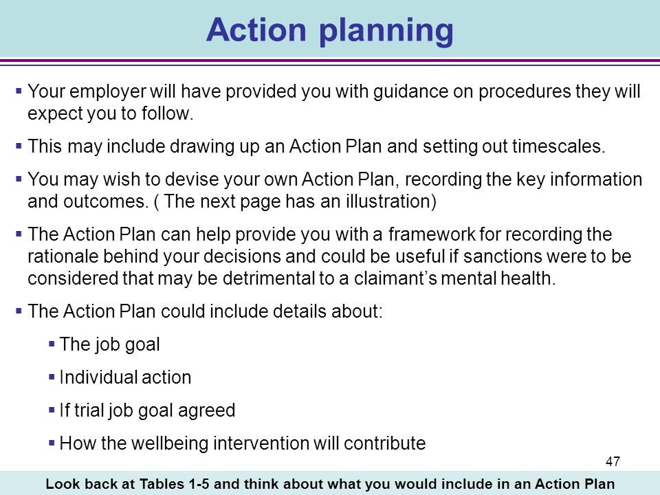 Action planning Your employer will have provided you with guidance on procedures they will expect you to follow.