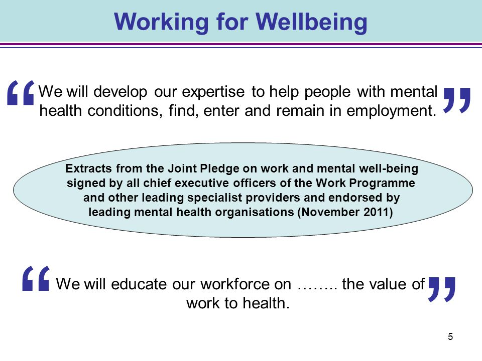 Working for Wellbeing