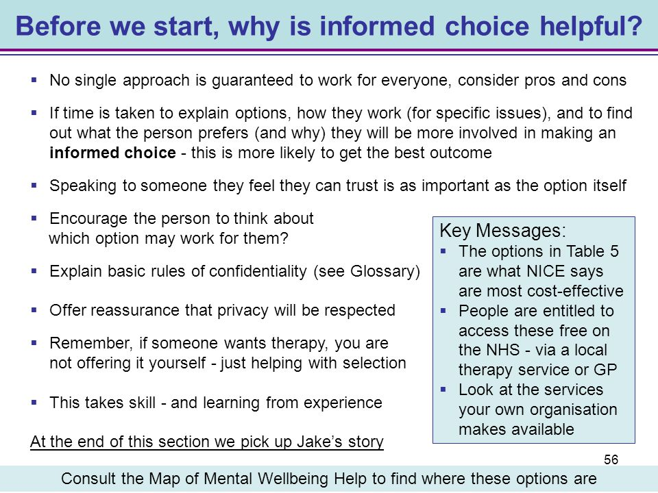 Before we start, why is informed choice helpful