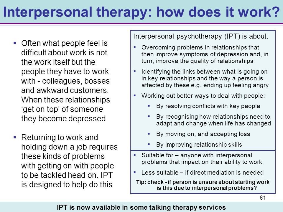 Interpersonal therapy: how does it work