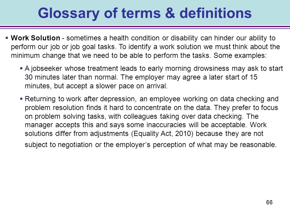 Glossary of terms & definitions