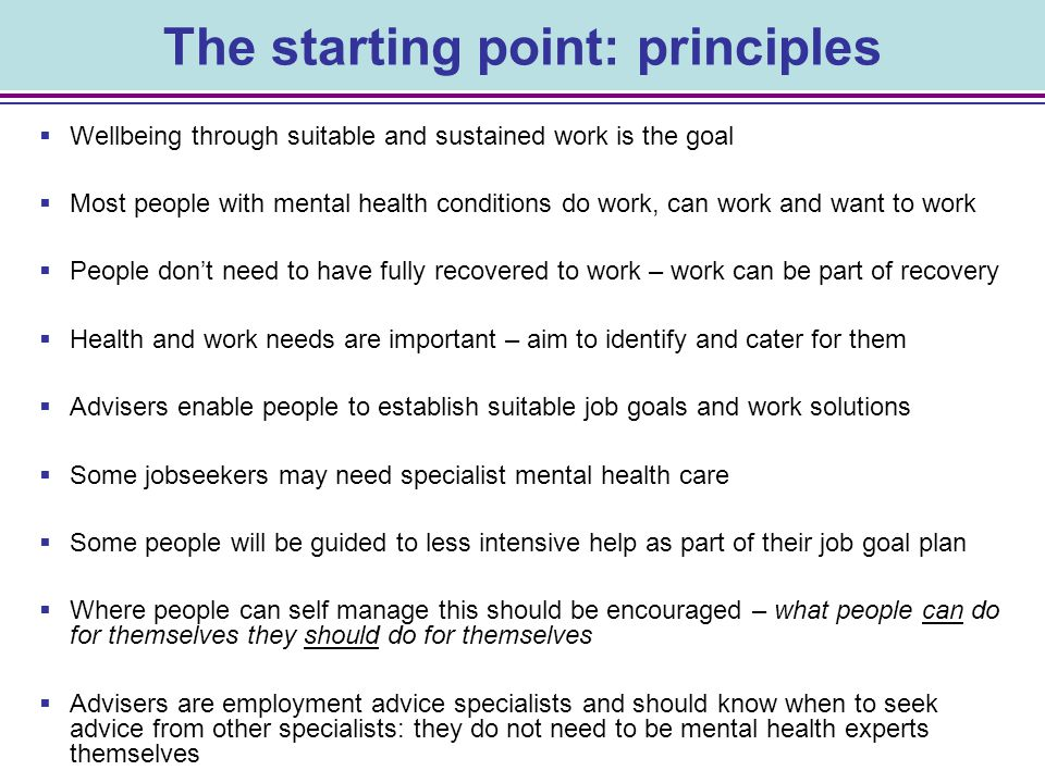The starting point: principles