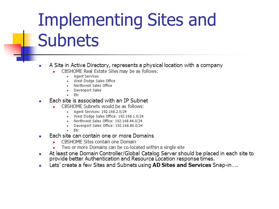 Implementing Sites and Subnets