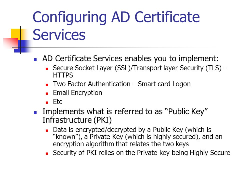 Configuring AD Certificate Services