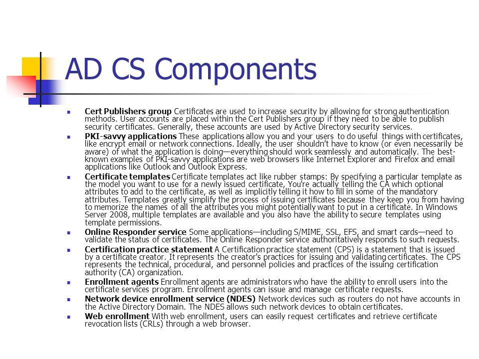 AD CS Components