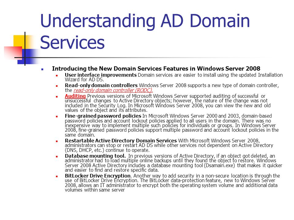 Understanding AD Domain Services