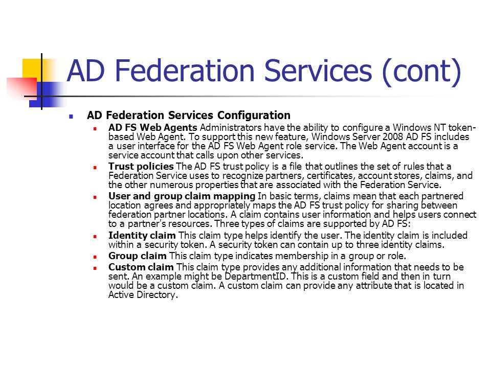 AD Federation Services (cont)
