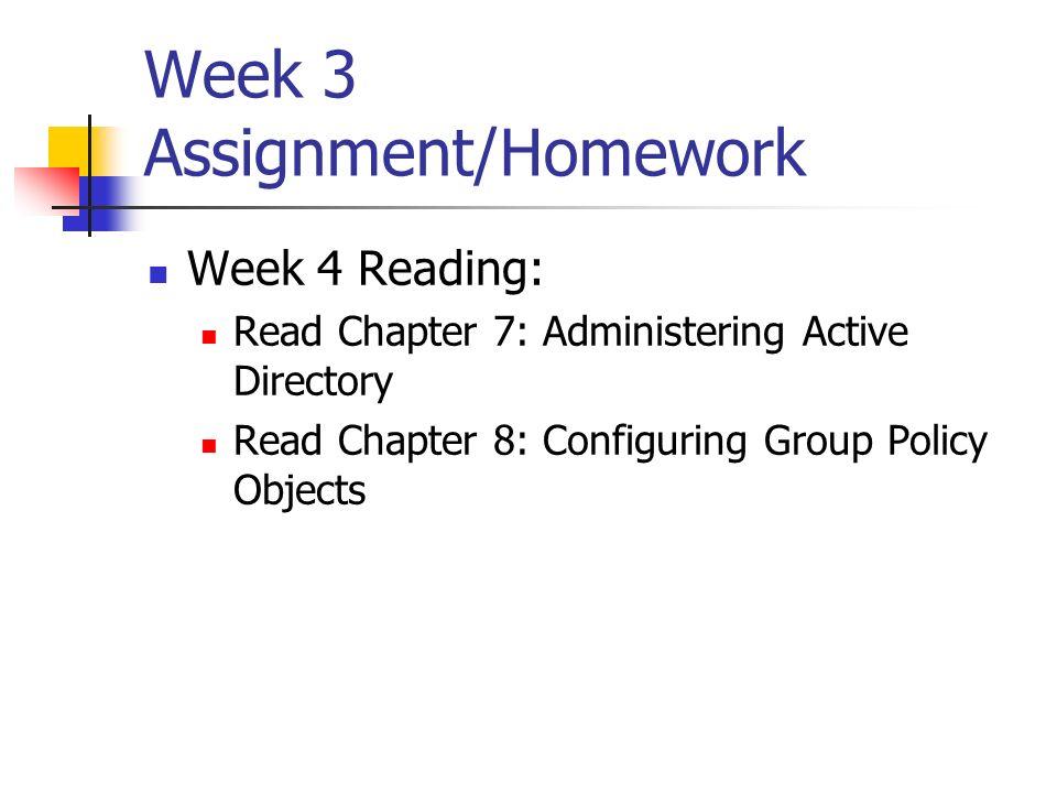 Week 3 Assignment/Homework