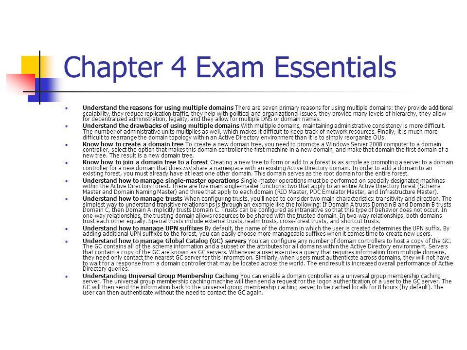 Chapter 4 Exam Essentials