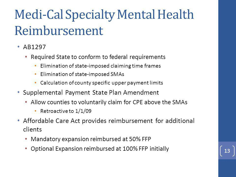 Medi-Cal Specialty Mental Health Reimbursement