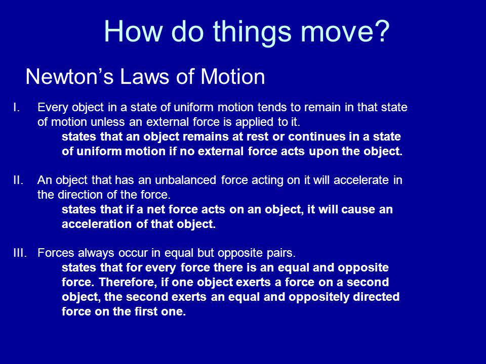 How do things move Newton's Laws of Motion