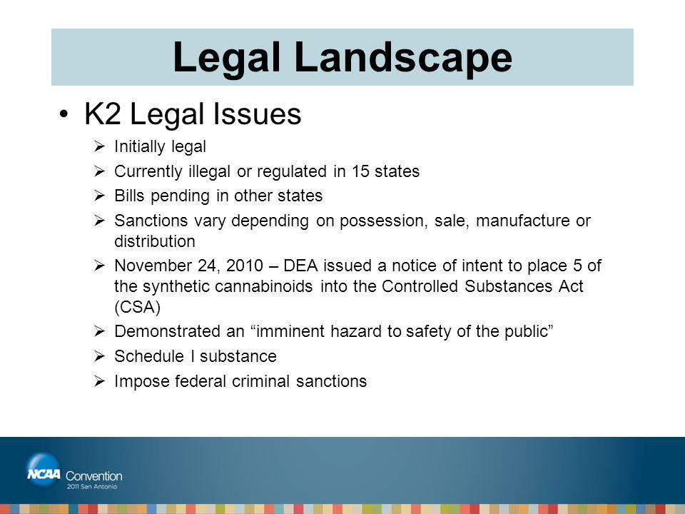 Legal Landscape K2 Legal Issues Initially legal