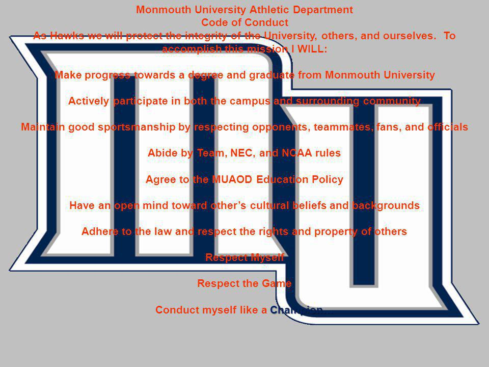 Monmouth University Athletic Department Code of Conduct