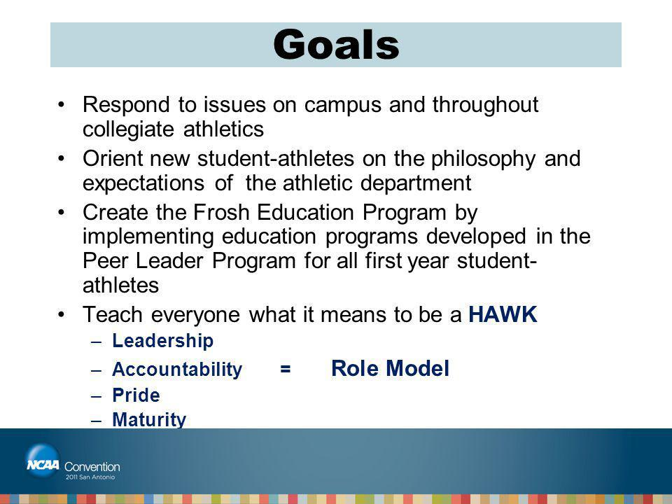Goals Respond to issues on campus and throughout collegiate athletics