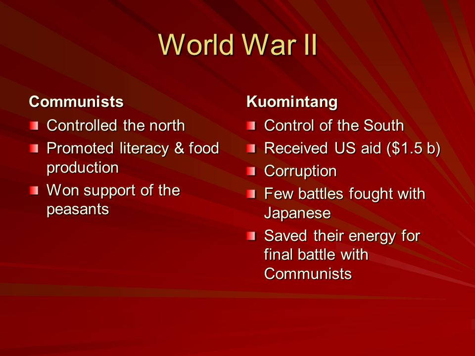 World War II Communists Kuomintang Controlled the north