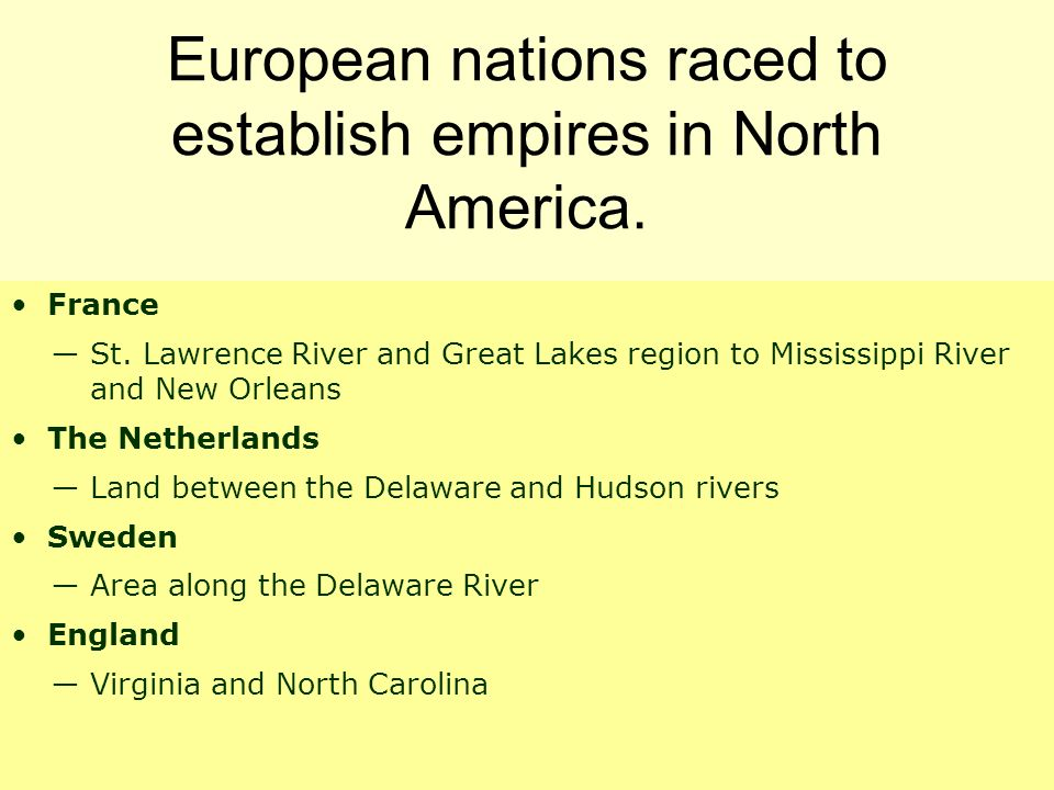 European nations raced to establish empires in North America.