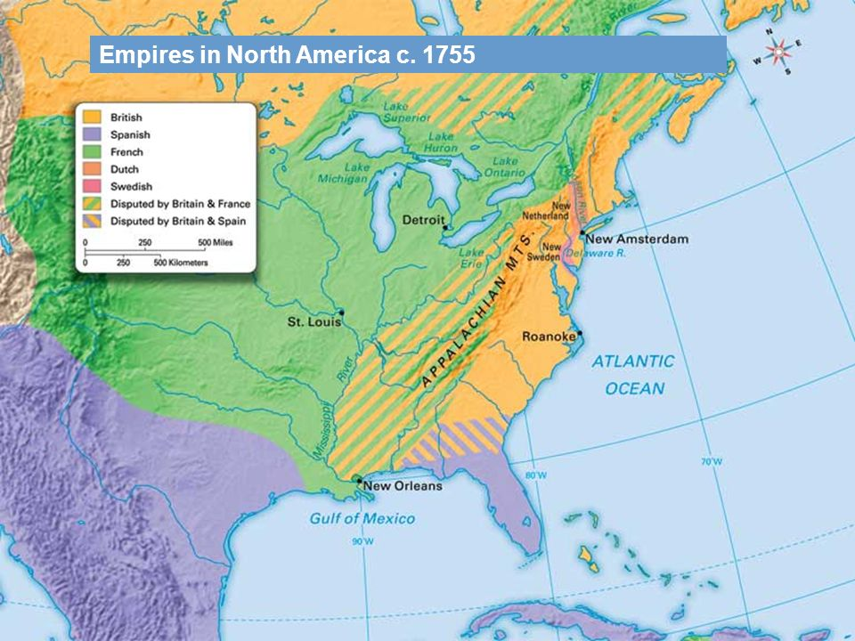 Empires in North America c. 1755