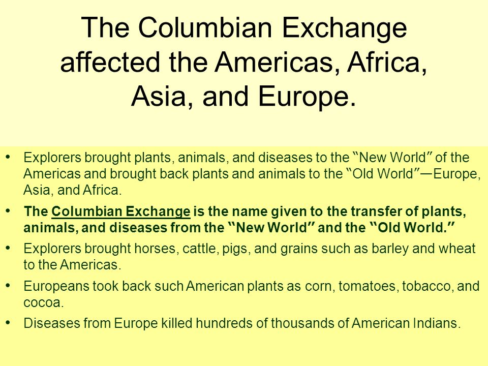 The Columbian Exchange affected the Americas, Africa, Asia, and Europe.