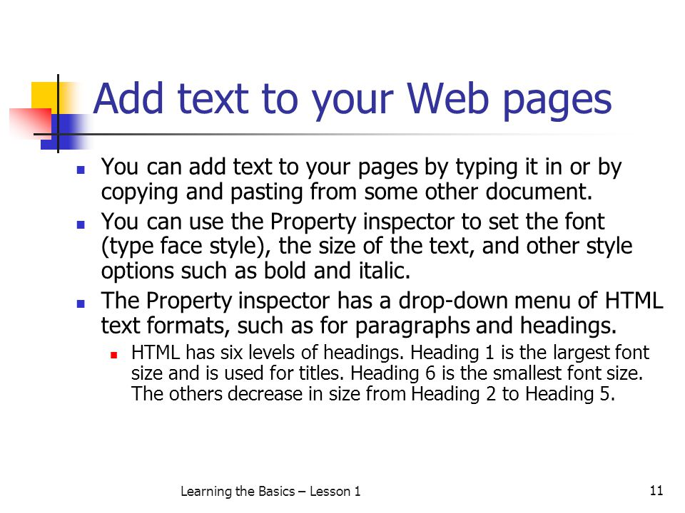 Add text to your Web pages