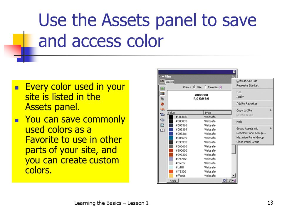 Use the Assets panel to save and access color