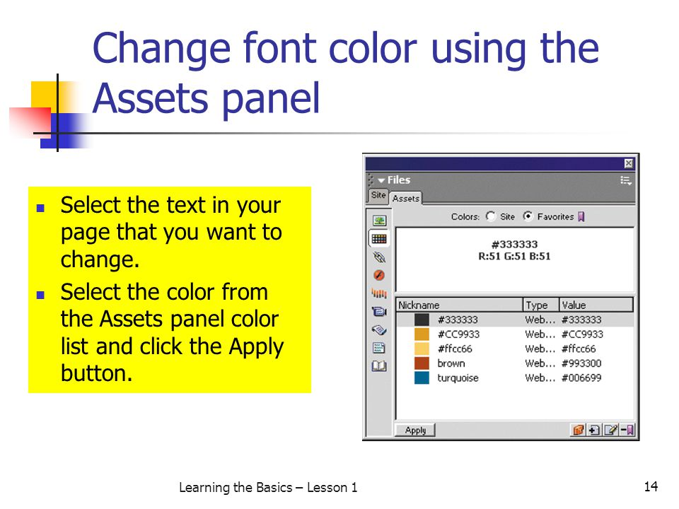 Change font color using the Assets panel